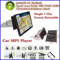 10.1 Android 8.1 Quad-core 1Din Car Radio Stereo MP5 Player GPS Sat Navigator