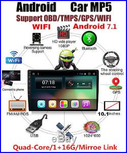 10.1Inch Android 7.1 Single DIN Car GPS Navigation WIFI In Dash Stereo Radio HD