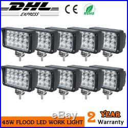 10x45W LED Work Light flood lamp Truck Offroad 4x4 SUV agricultural tractors 12V