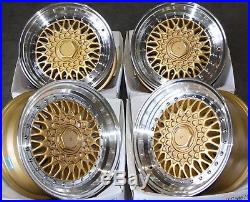 15 Cruize Classic Alloy Wheels Gold Polished Deep Dish 4x100 15 Inch Alloys