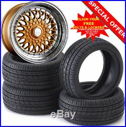 15 DR RS Alloy Wheels Tyres 195/50r15 e21 e30 Golf mk1 mk2 mk3 Seat Skoda 4X100