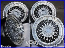 17 Rs Silver & Polished Style Deep Dish Alloy Wheels 4x100 Euro Style 17 Inch 3