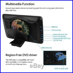 2Pcs Touch Screen LCD Headrest DVD Player IR Remote Controller Game Disc USB