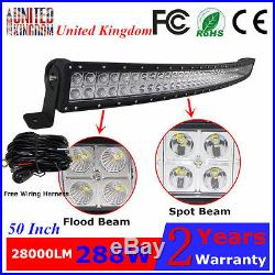 50 288W Curved LED Work Light Bar Driving Tractor Offroad Truck Lamp SUV ATV 12