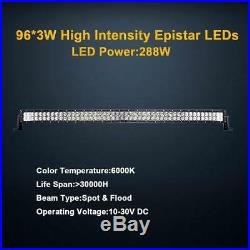 50'' 288W Driving Lights Curved Led bar Spot Flood Combo Beam Light IP67 Philips