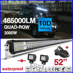 50 52inch led light bar with4 Pods Cube Wiring for UTV Land Rover Defender SUV