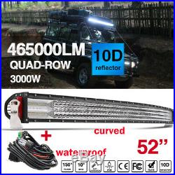 52INCH Quad Row LED Curved Light Bar Combo Beam for OffRoad 4x4 SUV Wiring