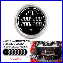 52mm Digital Air Gauge Air Suspension PSI BAR 5pieces 1/8NPT Electrical Sensors