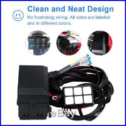 6 Switch Panel relay control box + wiring harness for vehicle with 12V DC power