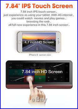 7.84 HD 4G WIFI Car DVR GPS Navigation Android 5.0 Dash Cam + Rear View Camera