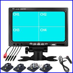 7 QUAD 4CH MONITOR +4 × Front/Left/Right/Rearview CAMERA CAR SECURITY SYSTEM