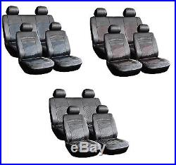 8 Piece Leather Look Pvc Car Seat Covers Black + Blue Stitching Vauxbb