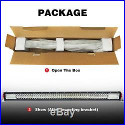9D Quad-Row 744W Straight 42'' LED Work Light Bar Flood Spot Driving for 4x4
