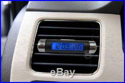 Air Conditioning Vent Clock Thermometer Temperature Digital Blue LED Backlight