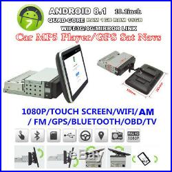 Android8.1 4-CORE 1Din 10.1 Car Radio Stereo MP5 Player GPS Sat Navigator 1+16G