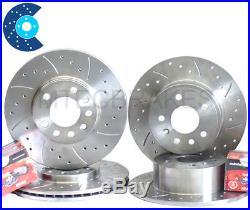 Astra G mk4 2.0 GSi Turbo Front Rear Drilled Grooved Brake Discs & Mintex Pads