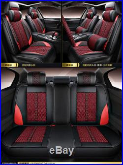 Automotive Car 5-Seat Cover Red& Black PU Leather +Ice Silk Breathable Washable