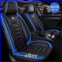 Black/Blue Leather 6D Surrounded Full Set Car Seat Cover Interior Accessories