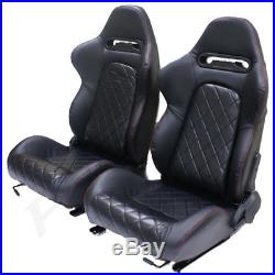 Black Pvc Leather Eff Reclining Bucket Car Seats For Vauxhall Astra