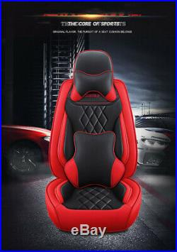Black/Red Luxury Leather Car 5-seats Cover Cushion Pads For Interior Accessories