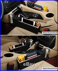 Car Seat Side Drop Catcher Gap Filler Organizer Caddy Storage PU Leather Black