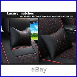Creamy White Wearproof PU Leather Seat Covers Neck Pillow M for Car All Seasons