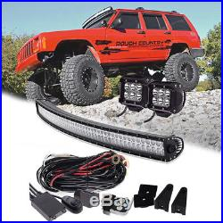 Curved 52Inch LED Light Bar Combo+2X 4 Pods Cube+Wiring+Remote Kit For Jeep