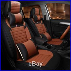Deluxe 8 PCS Seat Cover Leather Full Set Cushion 5-Seats Car Seat Accessories