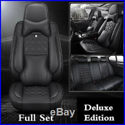Deluxe Edition PU Car Seat Cover Cushions Pillows Set For Interior Accessories