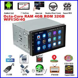Double 2Din Android 8.0 7 Car Stereo GPS Radio 4G RAM+32G ROM Octa-Core DAB
