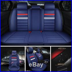 Fashion Blue Leather 5 Car Seat Cover Set Breathable&antibacterial Seat Cushion