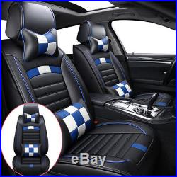 Luxury 5-Seat Car Seat Cover Gingham PU Leather Front+Rear Cushion withNECK Pillow