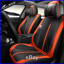 Luxury 5 Sit Breathable Microfiber Leather Car Cushion Seat Full Cover Red Black