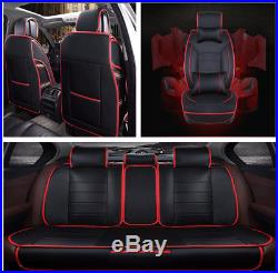 Luxury PU Leather Car Seat Covers Cushions 3 in 1 Rear Row Neck Lumber Pillows