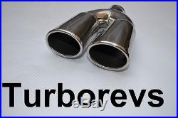 New Stainless Steel Twin Exhaust Muffler Tail Pipe Tip Abx Bmw Vw Vauxhall