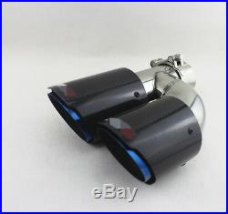 Pair Glossy 100% Real Carbon Fiber Left+Right Exhaust Pipe Tail Muffler Tip Blue