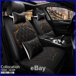 Royal Luxury Car Seat Cover Set Front+Rear Cushion WithPillow All Seasons black