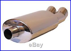 Twin Stainless Steel Tip Performance Exhaust Muffler Back Box Lmo 003