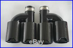 Universal 63mm-89MM -Dual Pipes Right + Left Side Glossy Exhaust TWIN End Tips