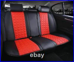 Universal Full Car Seat Covers Set Protectors Red Black Leatherette Luxury