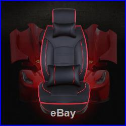Universal Luxury Leather Car Seat Cover Full Set Black/Red 5-Seats Seat Cushion
