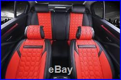 Universal Red Black Seat Covers Full Set Pu Leather Car Van Motorhome Bus Mpv