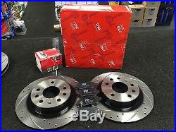 VAUXHALL ASTRA G H SRI TURBO CDTi TRW BRAKE DISC CROSS DRILLED GROOVED PADS REAR