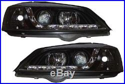 Vauxhall Astra G Mk4 Led Black Drl R8 Style Projector Front Headlights