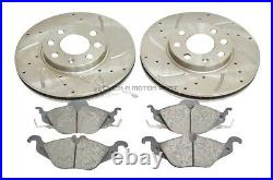 Vauxhall Astra G Mk4 1.6 16v Sxi Front Drilled Grooved Brake Discs & Mintex Pads