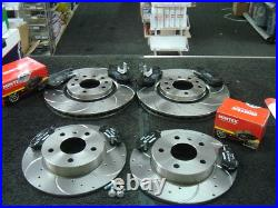 Vauxhall Astra G Mk4 1998-2004 Drilled Grooved Brake Discs Front Rear Mintex Pad