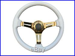 White Gold TS Aftermarket Sports Steering Wheel 6x70mm PCD